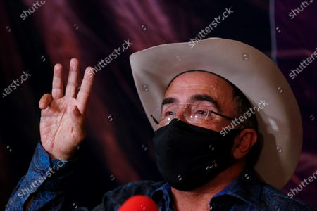 Vicente Fernandez Jr. speaks during a press conference to announce his candidacy for Deputy of Jalisco with the Solidarity Encounter Party (PES), in the city of Guadalajara, Jalisco state, Mexico, 22 January 2021. The businessman and singer Vicente Fernandez Jr., son of the famous Mexican singer of the same name, announced that he will seek to become a deputy in the next elections on 06 June.