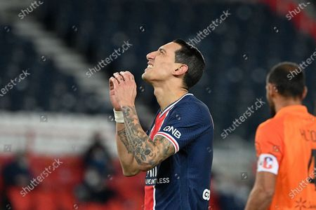Paris Saint Germain player Angel Di Maria during the French Championship Ligue 1 football match between PSG and Montpellier at the Parc des Princes stadium