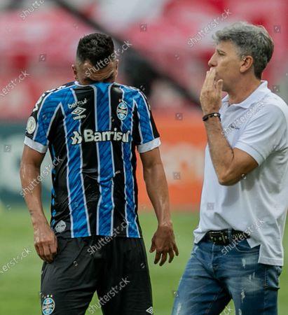Stock Photo of Maicon and Renato Gaúcho, manager of Gremio after the match; Beira-Rio Stadium, Porto Alegre, Brazil; Brazilian Serie A, Internacional versus Gremio.