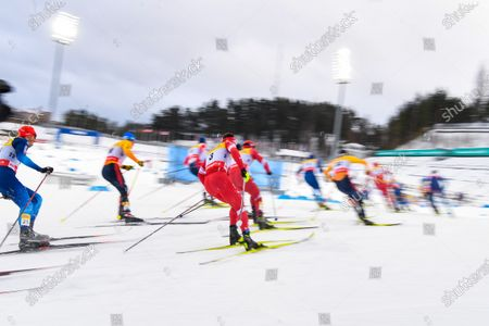 Stock Picture of Andrey Melnichenko of Russia (C) in action during the men's 15km classic + 15km free skiathlon race at the FIS Cross Country World Cup in Lahti, Finland, 23 January 2021.