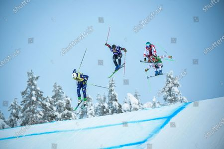 Stock Picture of (L-R) Simone Deromedis of Italy, Christopher Delbosco of Canada, Johannes Rohrweck of Austria and Jean Frederic Chapuis of France in action during the men's quarterfinal heat 2 during the men's Ski Cross final at the FIS Freestyle Ski World Cup event in Idre, Sweden 23 January 2021.