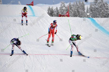 Alizee Baron (green, right) of France wins, Marielle Berger Sabbatel (blue, left) place second, Fanny Smith (red) of Switzerland place third and Katrin Ofner (yellow) place fourth in the woman's big Ski Cross final at the FIS Freestyle Ski World Cup event in Idre, Sweden