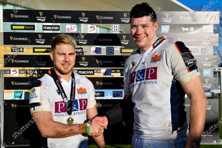 Zebre vs Edinburgh. Edinburgh's Jaco Van Der Walt is presented with the Guinness PRO14 Player of the Match Award by Grant Gilchrist