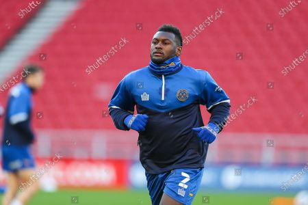 Shrewsbury Town defender Aaron Pierre (2) during the warm up ahead of the EFL Sky Bet League 1 match between Sunderland and Shrewsbury Town at the Stadium Of Light, Sunderland