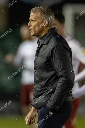 a Disaapointed Northampton Town manager Keith Kurle during the EFL Sky Bet League 1 match between Lincoln City and Northampton Town at Sincil Bank, Lincoln