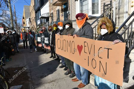 Housing activists protest to #CancelRent and demand a stop to all residential evictions outside the William Reid Apartments to New York.