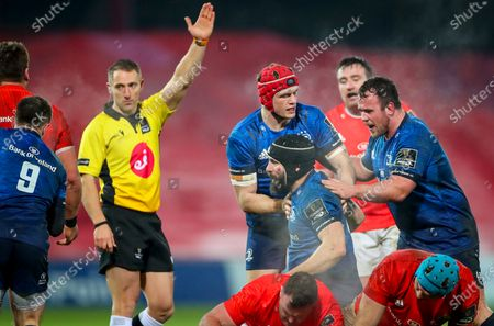 Munster vs Leinster. Leinster's Scott Fardy celebrates a penalty with Josh Van Der Flier and Ed Byrne