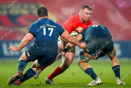Munster vs Leinster. Munster's Dave Kilcoyne comes up against Ed Byrne and Rhys Ruddock of Leinster