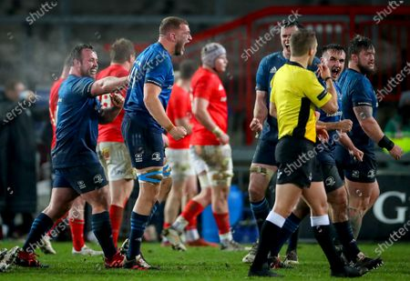 Munster vs Leinster. Leinster's Ed Byrne and Ross Molony celebrate at the final whistle