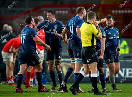 Munster vs Leinster. Leinster's Ed Byrne and James Ryan celebrate at the final whistle