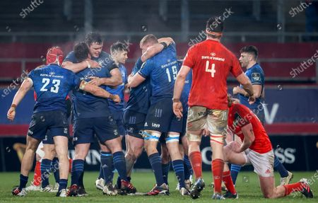 Munster vs Leinster. Leinster's Josh Van Der Flier celebrates at the final whistle with Ed Byrne and James Ryan