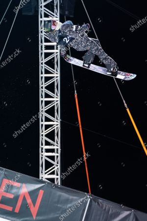 Chloe Kim from the USA in action during the Women's Halfpipe final at the FIS Snowboard World Cup competition Laax Open in Laax, Switzerland, 23 January 2021.