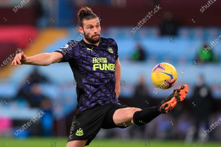 Newcastle's Andy Carroll in action during the English Premier League soccer match between Aston Villa and Newcastle United in Birmingham, Britain, 23 January 2021.