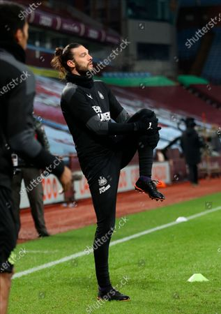 Newcastle's Andy Carroll warms up for the English Premier League soccer match between Aston Villa and Newcastle United in Birmingham, Britain, 23 January 2021.