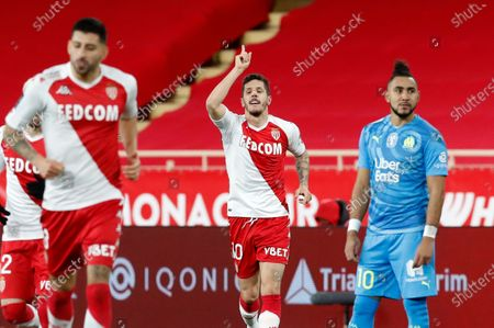 Stevan Jovetic of AS Monaco celebrates after scoring a goal against Olympique Marseille during the French Ligue 1 soccer match AS Monaco vs Olympique Marseille, at Stade Louis II, in Monaco, 23 January 2021.