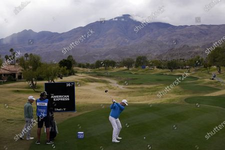 Rory Sabbatini hits from the 16th tee during the third round of The American Express golf tournament on the Pete Dye Stadium Course at PGA West, in La Quinta, Calif