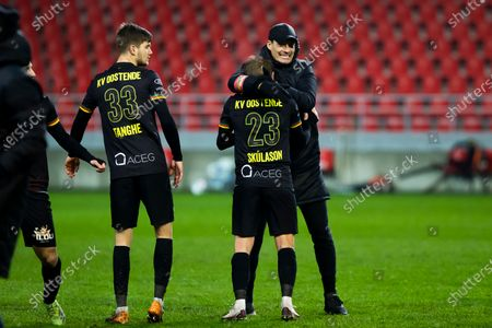 Stock Picture of Oostende's Ari Skulason and Oostende's head coach Alexander Blessin celebrate after winning a soccer match between Royal Antwerp FC and KV Oostende, Saturday 23 January 2021 in Antwerp, on day 21 of the 'Jupiler Pro League' first division of the Belgian championship.