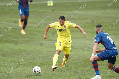 "Stock Image of Carlos Bacca (Villarreal) - Football / Soccer : Spanish ""La Liga Santander"" match between SD Huesca 0-0 Villarreal CF at the Estadio El Alcoraz in Huesca, Spain."