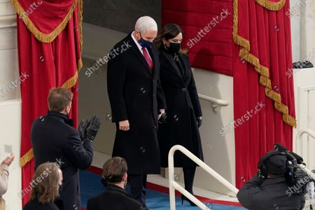 Vice President Mike Pence and his wife Karen, arrive for the 59th Presidential Inauguration at the U.S. Capitol for President-elect Joe Biden in Washington
