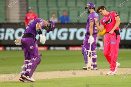 Sean Abbott of the Sydney Sixers celebrates the wicket of D'Arcy Short of the Hobart Hurricanes during the Hobart Hurricanes vs Sydney Sixers  T20 Big Bash League match at Melbourne Cricket Ground, Melbourne