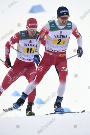 Stock Image of Sjur Roethe of Norway, followed by Andrey Melnichenko of Russia during the men's Cross Country relay 4x7,5km at the FIS World Cup Lahti Ski Games in Lahti, Finland, on Sunday, 24th Jan., 2021.