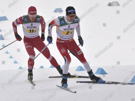 Sjur Roethe of Norway, followed by Andrey Melnichenko of Russia during the men's Cross Country relay 4x7,5km at the FIS World Cup Lahti Ski Games in Lahti, Finland, on Sunday, 24th Jan., 2021.