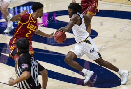 Berkeley, CA U.S.A. California guard Joel Brown (1) drives to the basket during the NCAA Basketball game between USC Trojans and the California Golden Bears 68-76 lost at Hass Pavilion. Thurman James / CSM