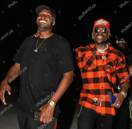 (L-R) Mike Gardner greets DJ Stevie J at his birthday celebration at The Urban his birthday