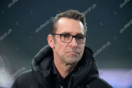 Berlin's manager Michael Preetz stands on the sidelines prior to the Bundesliga soccer match between Hertha BSC Berlin and Werder Bremen at the Olympia Stadium in Berlin, Germany
