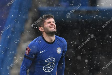 Christian Pulisic of Chelsea Villa reacts during the English FA Cup fourth round match between Chelsea and Luton Town in London, Britain, 24 January 2021.