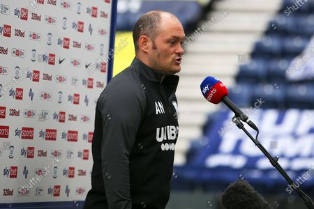 Preston North End Manager Alex Neil being interviewed during the EFL Sky Bet Championship match between Preston North End and Reading at Deepdale, Preston
