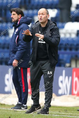 Preston North End Manager Alex Neil gestures during the EFL Sky Bet Championship match between Preston North End and Reading at Deepdale, Preston