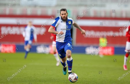 Stock Photo of Blackburn Rovers midfielder Bradley Johnson (4)  during the EFL Sky Bet Championship match between Middlesbrough and Blackburn Rovers at the Riverside Stadium, Middlesbrough