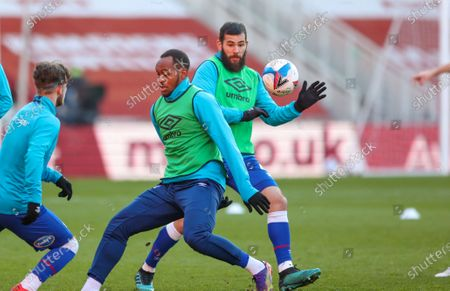 Stock Image of Blackburn Rovers midfielder Bradley Johnson (4) warming up  during the EFL Sky Bet Championship match between Middlesbrough and Blackburn Rovers at the Riverside Stadium, Middlesbrough