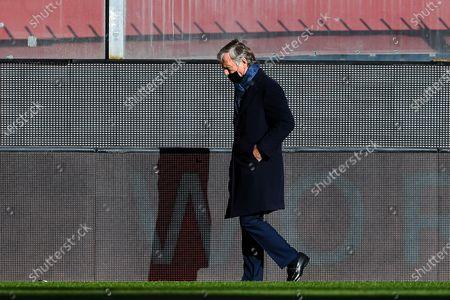 Genoa's chairman Enrico Preziosi walks around the pitch before the Italian Serie A soccer match Genoa CFC vs Cagliari Calcio at Luigi Ferraris stadium in Genoa, Italy, 24 January 2021.