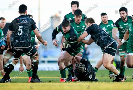 Stock Picture of Connacht vs Ospreys. Connacht's Peter O'Sullivan is tackled by Dan Lydiate of Ospreys