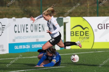 Sarah Wilson (#5 Durham) tackles Amelia Hazard (#22 London Bees) lbduring the FA Women's Championship game between Durham and London Bees at Maiden Castle in Durham, England