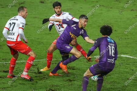Beerschot's Tarik Tissoudali and Essevee's Bassem Srarfi pictured in action during a soccer match between SV Zulte Waregem and Beerschot VA, Sunday 24 January 2021 in Waregem, on day 21 of the 'Jupiler Pro League' first division of the Belgian championship.