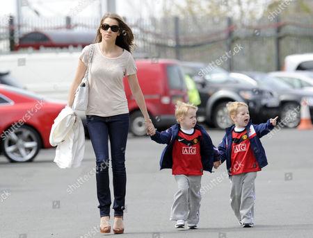 Hayley Grice girlfriend of Darren Fletcher with her twin sons -  Jack and Tyler