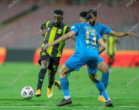 Al-Ittihad's player Fahad Al Muwallad (L) in action against Al-Nassr's Abdulrahman Al-Obaid (R) during the Saudi Professional League soccer match between Al-Ittihad and Al-Nassr at King Abdulaziz Stadium, Mecca, Saudi Arabia, 24 January 2021.