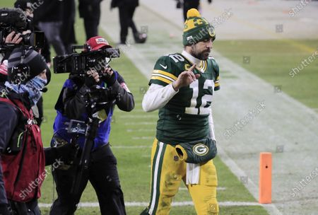 Green Bay Packers quarterback Aaron Rodgers reacts as he leaves the field after losing to the Tampa Bay Buccaneers in their NFL NFC Championship game at Lambeau Field in Green Bay, Wisconsin, USA, 24 January 2021.  The Buccaneers will go on to face either the Buffalo Bills or the Kansas City Chiefs in Super Bowl LV in Tampa Bay, Florida on 07 February 2021.