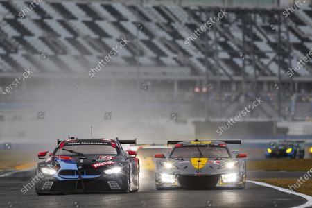DAYTONA INTERNATIONAL SPEEDWAY, UNITED STATES OF AMERICA - JANUARY 24: #24: BMW Team RLL BMW M8 GTE, GTLM: John Edwards, Jesse Krohn, Augusto Farfus, Marco Wittmann, #4: Corvette Racing Corvette C8.R, GTLM: Tommy Milner, Nick Tandy, Alexander Sims during the Roar Before the 24 at Daytona International Speedway on January 24, 2021 in Daytona International Speedway, United States of America. (Photo by Jake Galstad / LAT Images)