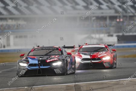 DAYTONA INTERNATIONAL SPEEDWAY, UNITED STATES OF AMERICA - JANUARY 24: #24: BMW Team RLL BMW M8 GTE, GTLM: John Edwards, Jesse Krohn, Augusto Farfus, Marco Wittmann during the Roar Before the 24 at Daytona International Speedway on January 24, 2021 in Daytona International Speedway, United States of America. (Photo by Jake Galstad / LAT Images)