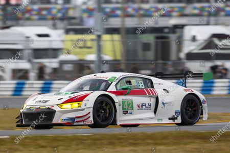 DAYTONA INTERNATIONAL SPEEDWAY, UNITED STATES OF AMERICA - JANUARY 24: #42: NTE Sport Audi R8 LMS GT3, GTD: Alan Metni, Andrew Davis, JR Hildebrand, Don Yount during the Roar Before the 24 at Daytona International Speedway on January 24, 2021 in Daytona International Speedway, United States of America. (Photo by Jake Galstad / LAT Images)