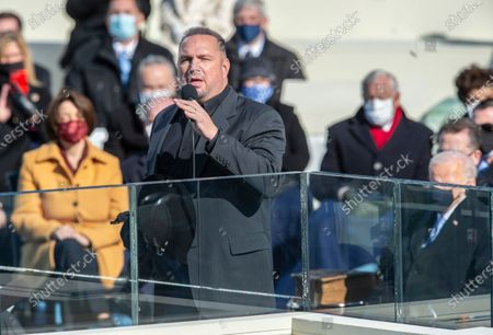 Garth Brooks, preforms at the Inauguration of U.S. President Joe Biden and Vice President Kamala Harris before a small crowd on the West Front of the U.S. Capitol building