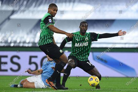 Marlon of Sassuolo, Pedro Obiang of Sassuolo, Ciro Immobile of Lazio