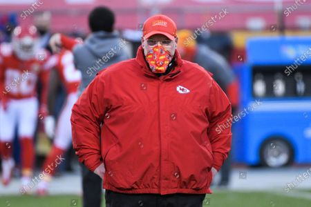Kansas City Chiefs head coach Andy Reid during pre-game activities before the NFL AFC championship football game between the Kansas City Chiefs and the Buffalo Bills, in Kansas City, Mo