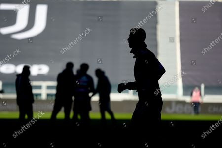 The Cristiano Ronaldo silhouette during the Serie A football match between Juventus and Bologna FC. Juventus won 2-0 over Bologna. Sporting stadiums around Italy remain under strict restrictions due to the Coronavirus Pandemic as Government social distancing laws prohibit fans inside venues resulting in games being played behind closed doors