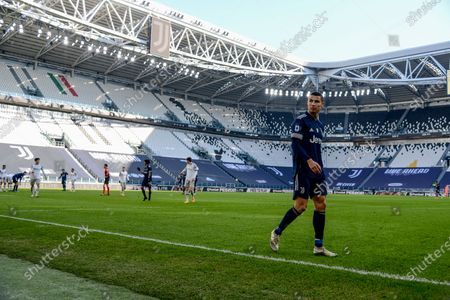 Cristiano Ronaldo of Juventus FC during the Serie A football match between Juventus and Bologna FC. Juventus won 2-0 over Bologna. Sporting stadiums around Italy remain under strict restrictions due to the Coronavirus Pandemic as Government social distancing laws prohibit fans inside venues resulting in games being played behind closed doors