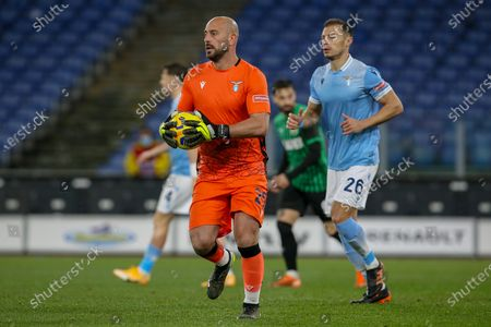 Goalkeeper Pepe Reina of SS Lazio during the Italian Serie A football match between SS Lazio and US Sassuolo at Olimpico Stadium in Rome, Italy on January 24, 2021. SS Lazio won the match 2-1.